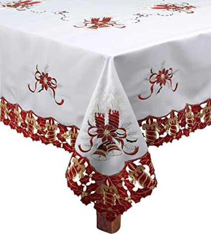 creative linens holiday christmas tablecloth 68 square with 8 napkins embroidered red poinsettia candle bell - Square Christmas Tablecloth