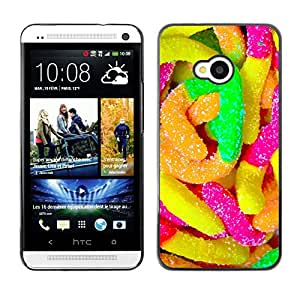 Qstar Arte & diseño plástico duro Fundas Cover Cubre Hard Case Cover para HTC One M7 ( Rubber Candy Colorful Sugar Sweets Neon)
