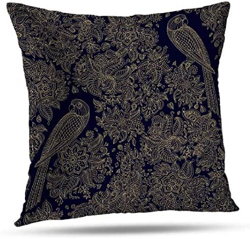 GANKE Bohemian Animal Decorative Pillow Covers, Couch Cushion Covers Abstract Seamless Exotic Bird Fantastic Flower Leaves 18x18 Inch Throw Pillow Cover,Standard Pillow Case for Sofa