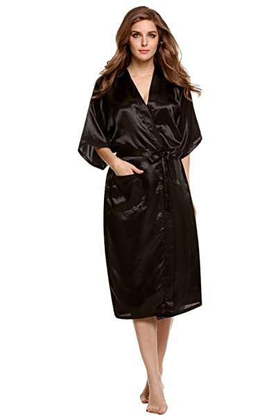 Easyhon Women s Pure Color Long Kimono Satin Robe Sleepwear (Small 069b348ee