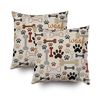 Capsceoll 2PCS dog bones and paw prints custom Decorative Throw Pillow Case  18X18Inch a68de3aae26f