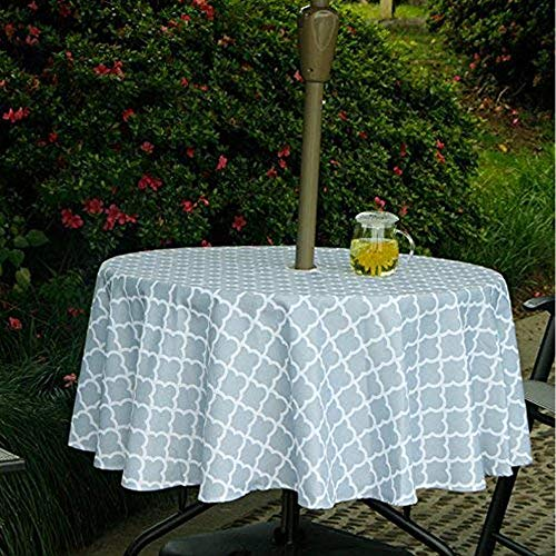 Lamberia Patio Outdoor Umbrella Tablecloth with Zipper and Umbrella Hole, Water and Stain Resistant (Light Gray, 60