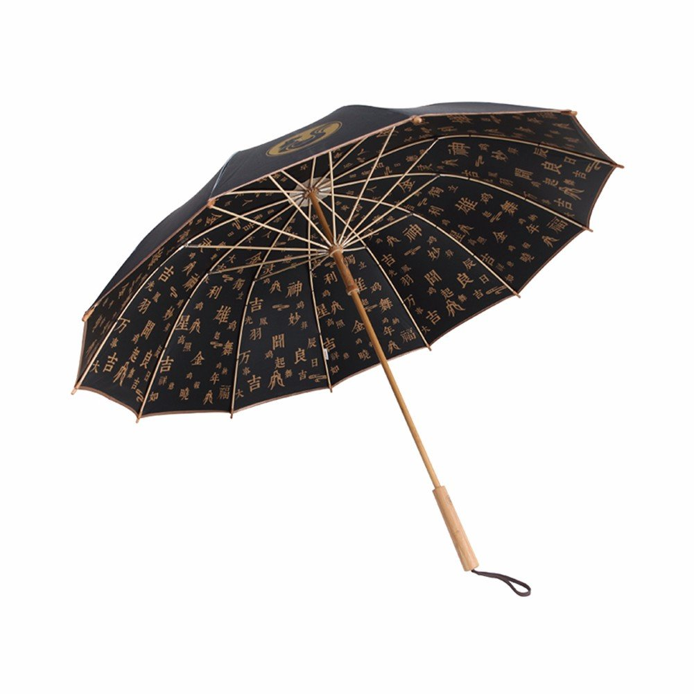 SSBY Bamboo umbrella long handle vintage men and women creativity gift with box,A