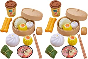 NUOBESTY 2 Sets Kids Pretend Play Toy Kitchen Cooking Toy Steamed Toy Food Chinese Breakfast Food Play Set Dollhouse Furniture (26Pcs)