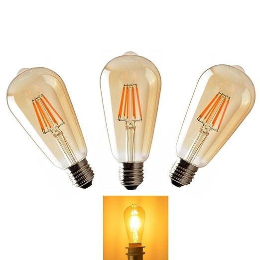 E27 LED Bombillas Lamparas Edison de Filamento de6W ST64 Vintage Retro Antigua Luz Calida 2700K Equivalente