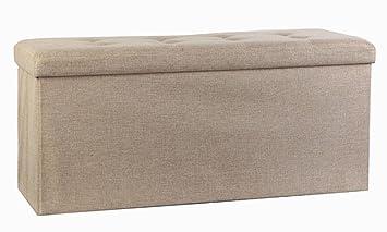 Storage Ottoman,Folding Storage Bench, Linen Like Fabric And Foldable Stool  Thickening Sponge