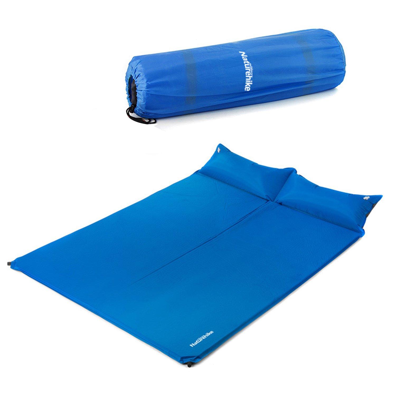 Naturehike Moisureproof 2 PersonデフクラブパッドSleeping Pad with Double枕、Comfortalbe防水厚手軽量anti-tear、forアウトドアキャンプ、ハイキング、バックパッキング、旅行 B01M9I0H7L スカイブルー