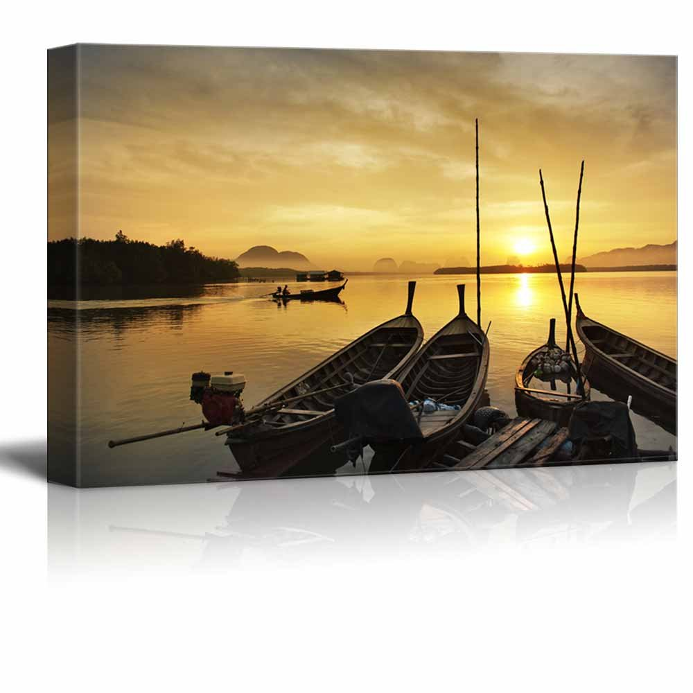 Docked Canoes at Sunset Wall Decor ation - Canvas Art | Wall26