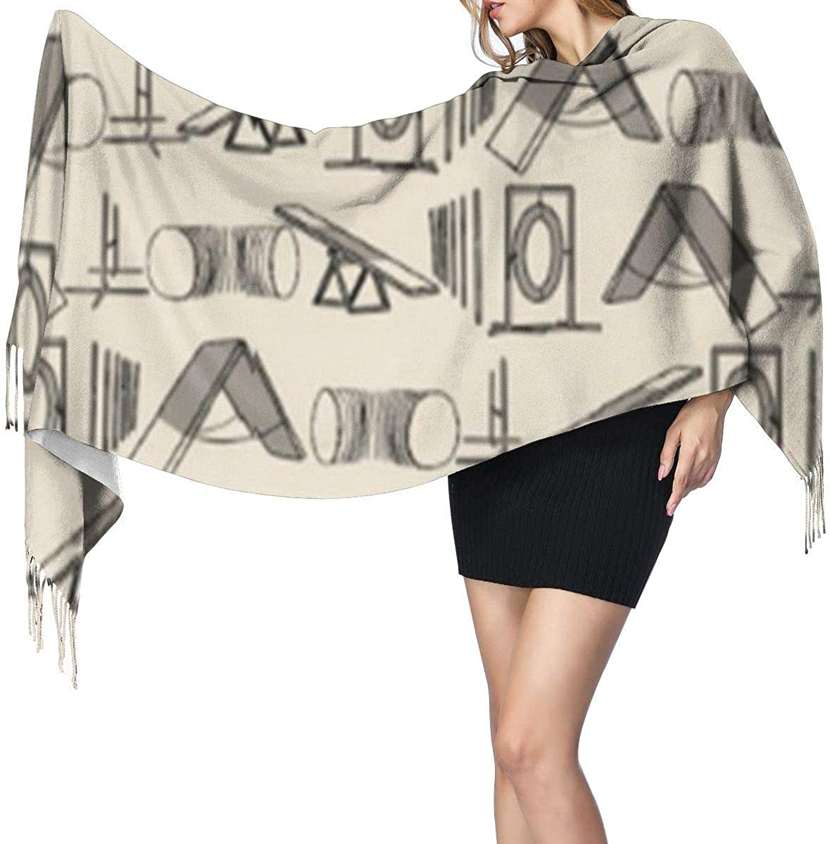 XCNGG Bufanda con flecos de cachemira de imitación chal bufanda larga de moda Cashmere Feel Shawl Wraps Simple Dog Agility Equipment Fashion Large Scarf For Women Winter Warm Soft Scarves Blanket
