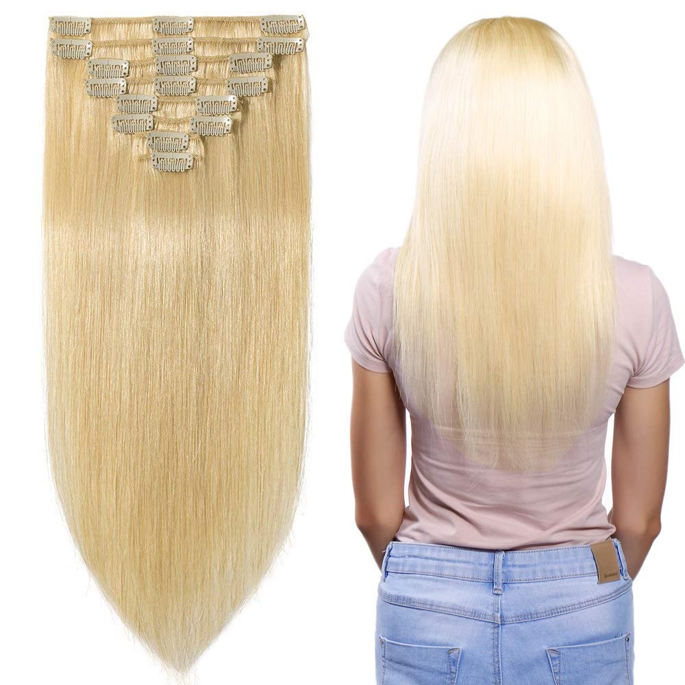 03a82a5532d4 Amazon.com   22 inch 110g Clip in Remy Human Hair Extensions Full Head 8  Pieces Set Long length Straight Very Soft Style Real Silky for Beauty  613  Bleach ...