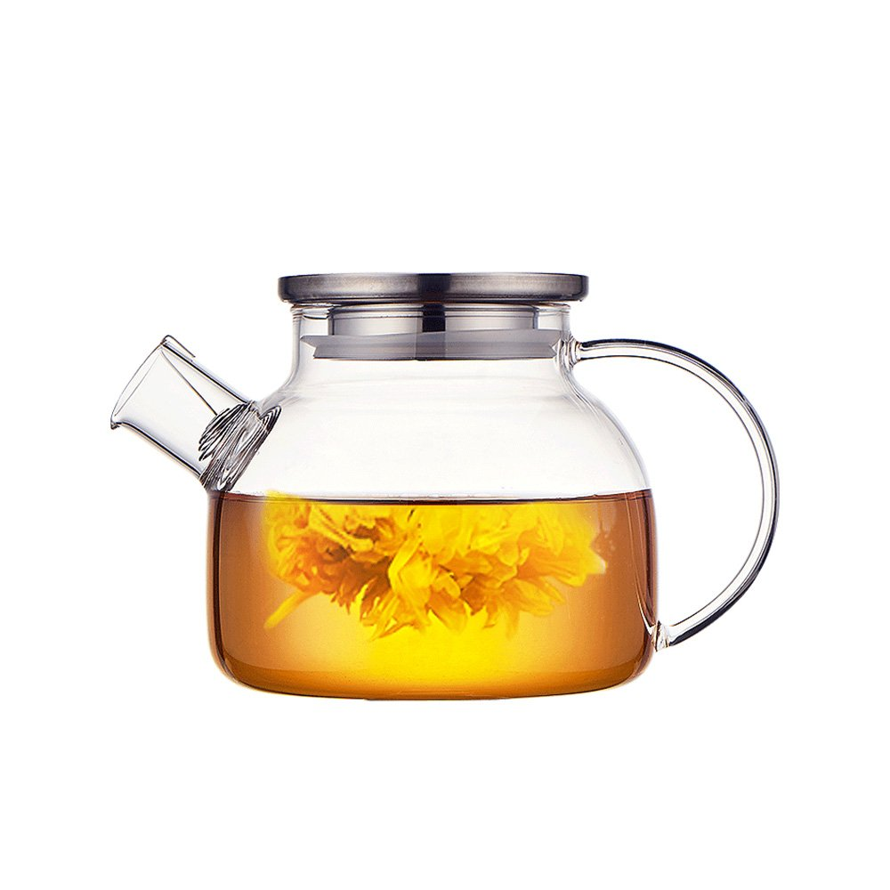 Pusuo Borosilicate Glass Pitcher with Lid, Hot/Cold Water Jug, Juice and Iced Tea Beverage Carafe (1000ml) LTD