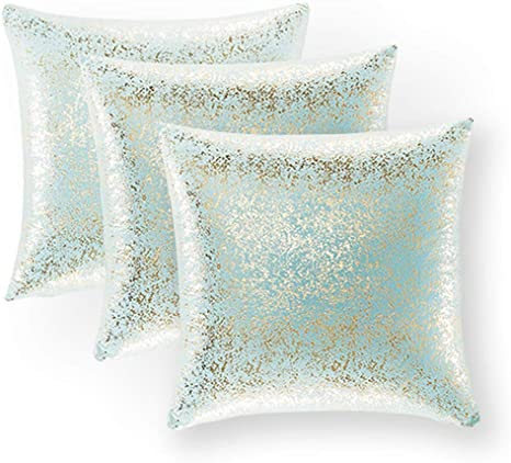 Xinrjojo Pack Of 3 Shiny Cushion Decorative Pillow Covers Soft Square Throw Pillow Covers Solid Color Cushion Covers Pillow Cases For Sofa Bedroom Car 18 X 18 Inch 45 X 45