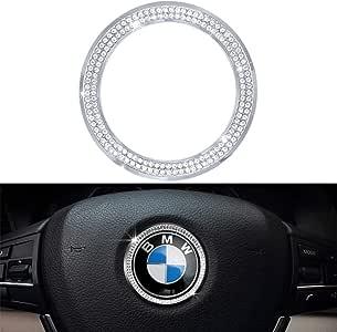 VDARK BMW Accesorios Piezas Volante Logo Caps Cubiertas Abziehbilder para Todos los BMW Bling Interior Pegatinas Visera Decoraciones BMW Serie 3 5 Serie 6 7 X3 X5 X6 Mujer Hombre Cristal Plata: