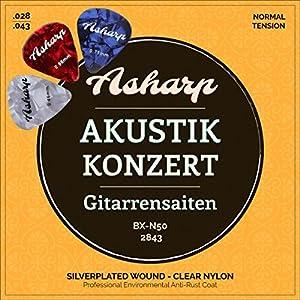 Asharp Gitarrensaiten für klassische Gitarre inkl. 3 Plektren – Premium Nylon-Saiten Satz für Konzertgitarre und…