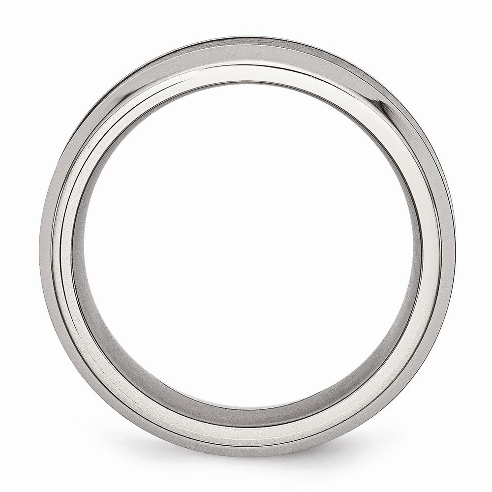Stainless Steel Base w//Polished Black Ceramic Center Beveled Band Size 8 Length Width 8