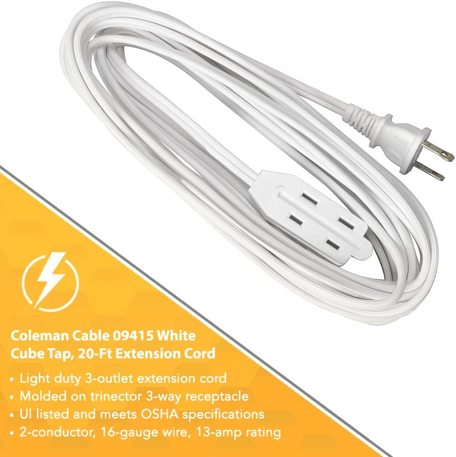 Coleman Cable 09415 20/' 16//2 White Indoor Cube Tap Extension Cord