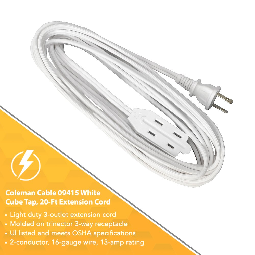 Coleman Cable 9415 Extension Cord With 2 Power Outlets 20-Foot 94158901 White
