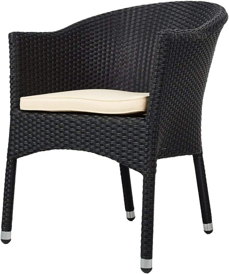 karmas product outdoor dining wicker chairs patio garden furniture with seat cushions weave rattan armchair 1 pc black