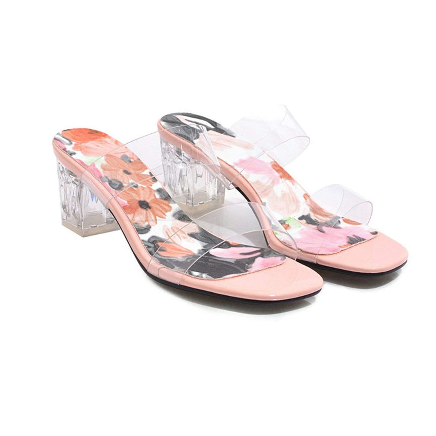 Pink coolemon Summer Slippers Women shoes Flower Square High Heel shoes Transparent Open Toe Slides Ladies Sandals Pink Plus Size 3-12
