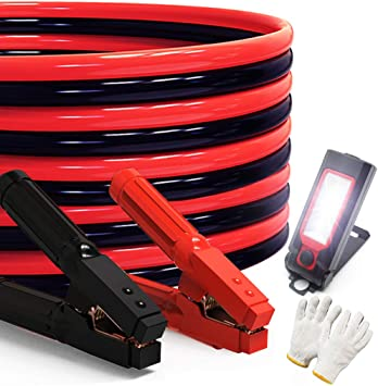 Heavy Duty Jumper Cables 0 Gauge x 30Ft 1000AMP Smart Booster Cables with Carry Bag and Light
