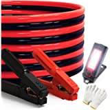 Heavy Duty Jumper Cables 0 Gauge x 25Ft 1000AMP Smart Booster Cables with Carry Bag and Light