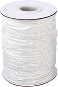 Vtete 1.8 mm × 100 Yards/Roll Braided Lift Shade Cord - White Polyester Shade Blinds Pull String Rope for Aluminum Blinds Windows, Roman Shade Repair, Gardening Plant & Crafts and DIY Projects