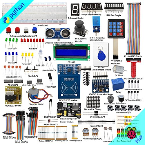 Adeept RFID Starter Kit for Raspberry Pi 3, 2 Model B/B+, Stepper Motor, ADXL345, 40-pin GPIO Extension Board, Breadboard, with C and Python Code, Learning Kit with Guidebook(PDF) by Adeept