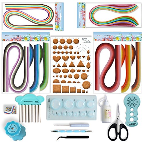 JUYA Paper Quilling Kit with Blue Tools 960 Strips Board Mould Crimper Coach Comb (Paper Width 3mm With Glue) by JUYA