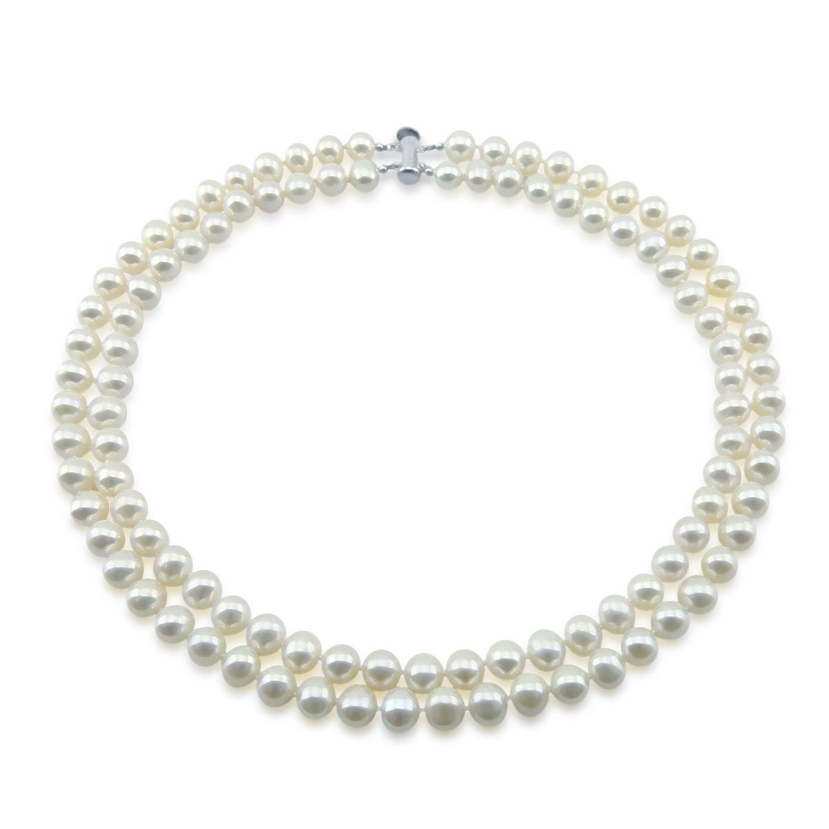 Sterling Silver 2 Rows 8-9mm White Freshwater Cultured Pearl High Luster Necklace 17''-18''