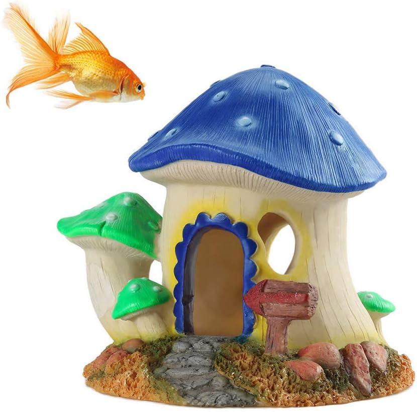 KnocKconK Hand-Painted Resin Mushroom Aquarium Hideout House, Colorful Fish Tank Décor Ornaments Safe Decorations, Vivid Reptile Box Shelter Habitat Hiding Hole Cave
