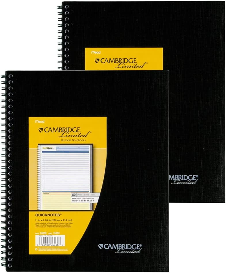 2 PACK of Mead 06066 Cambridge Limited QuickNotes Business Notebook