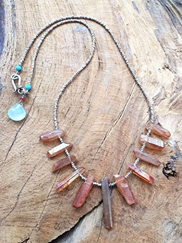 Titanium Quartz Necklace with Chalcedony Turquoise and Thai Karen Hill Tribe Silver