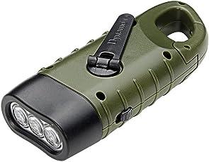 PAWACA linterna LED, Mano Cranking Dynamo Solar recargable linterna con mosquetón, gran Mini Linterna para camping canotaje senderismo escalada pesca caza al aire última intervensión