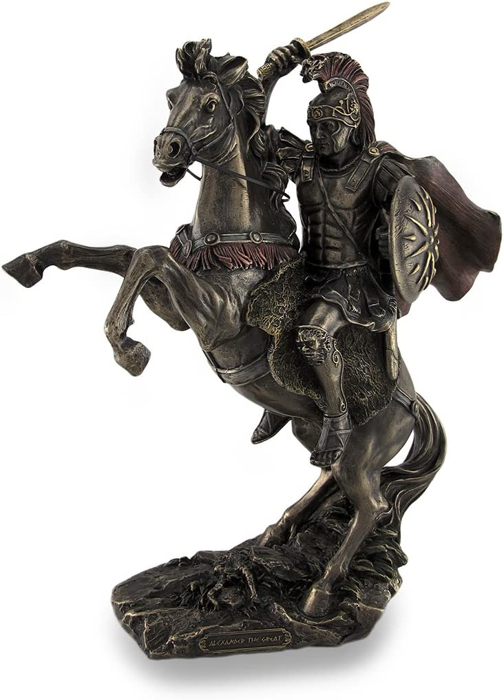Things2Die4 Alexander der Gro/ße Riding Bukephalos braunen Skulpturale Statue