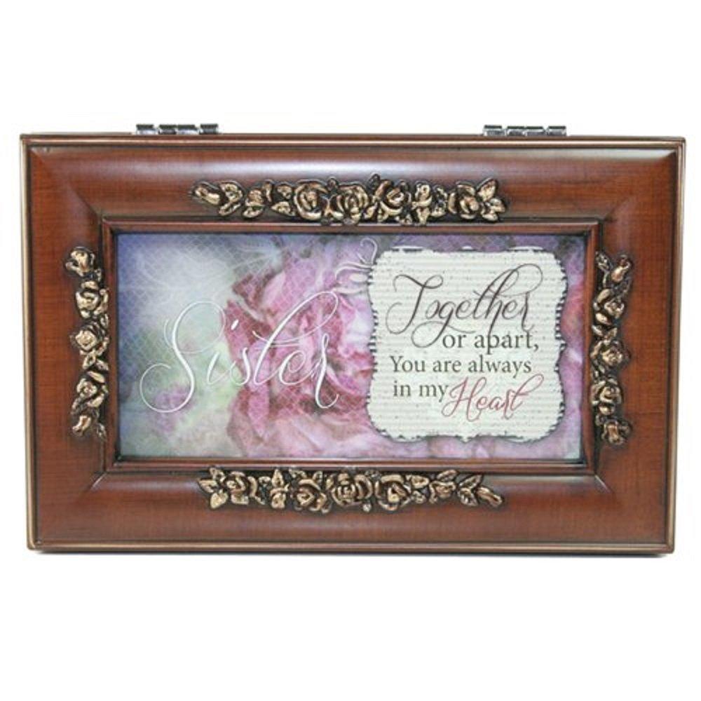 Woodgrain Petite Rose Sister Music Box - Perfect Sister Gift Cottage Garden PR133