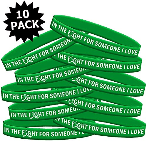 In The Fight For Someone I Love Kidney Disease Tbi Cerebral Palsy Wristband Bracelet 10 Pack  Green