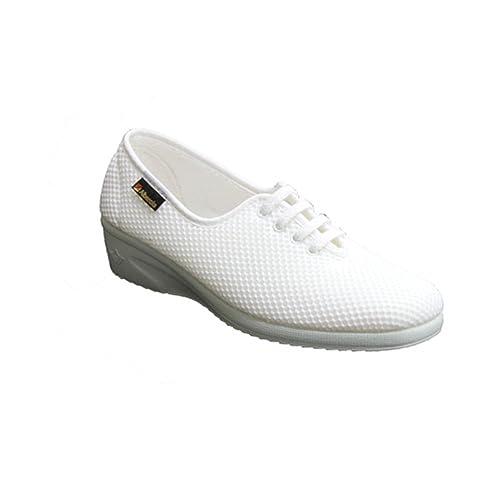 Zapatillas cordones cuña lona lisa Alberola en blanco: Amazon.es: Zapatos y complementos
