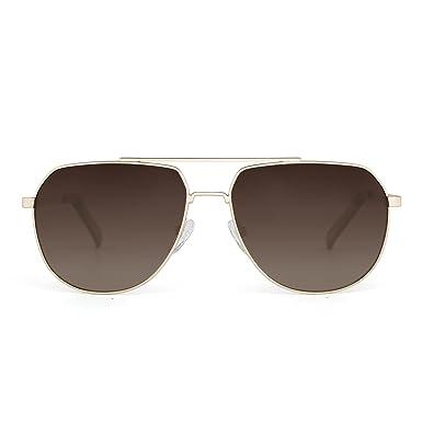 Sonnenbrille Herren Pilotenbrille Polarisiert UV Schutz Aviator Brille mit Metallrahmen Gold dUHuYJE