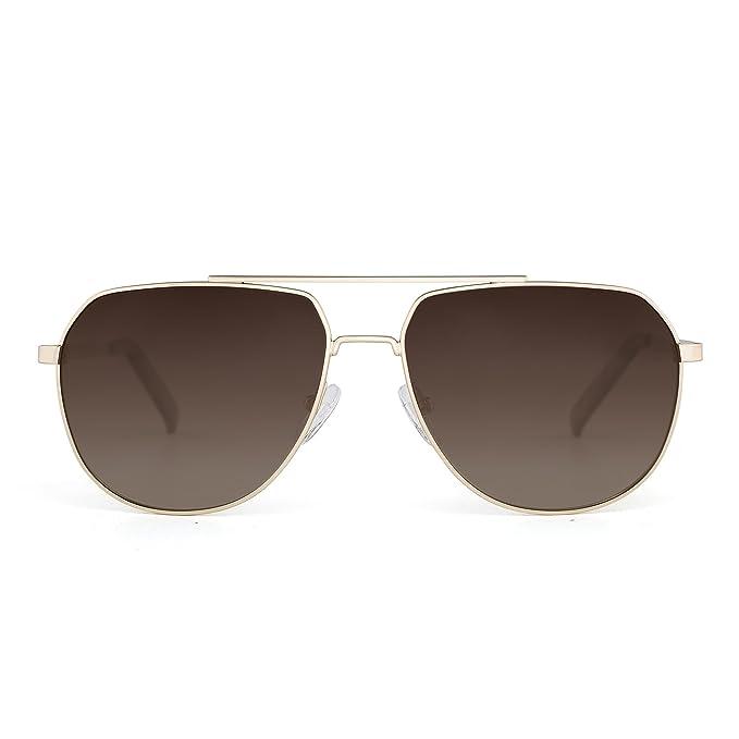 JIM HALO Gafas de Sol Aviador Polarizadas de Espejo Conducir Anteojos Metal Marco Hombre Mujer(