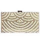 Digabi Mixed Pearl & Diamond fan pattern Women Metal Evening Clutch Bags (One Size : 8.5 x 4.7 x 2 IN, Gold)