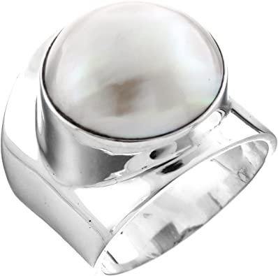 15mm Gold Mabe Pearl 925 Sterling Silver Adjustable Sz 8 Ring
