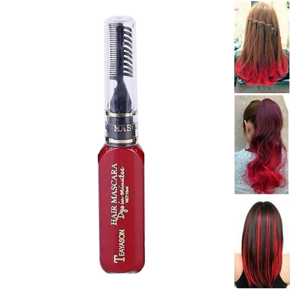 Pawaca Women Hair Dye Cream Fashion Disposable 13 Colors DIY Hair Color Dye with Brush Comb for Women Girls Hair Dyeing Party Christmas Cosplay Salon Supplies(Red)