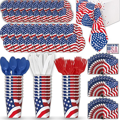 American Flag Paper Dinnerware for 24 - 2 Size Plates, Cups, Napkins , Cutlery (Spoons, Forks, Knives), and tablecovers - Full Patriotic Party Supply (Flag Napkins)