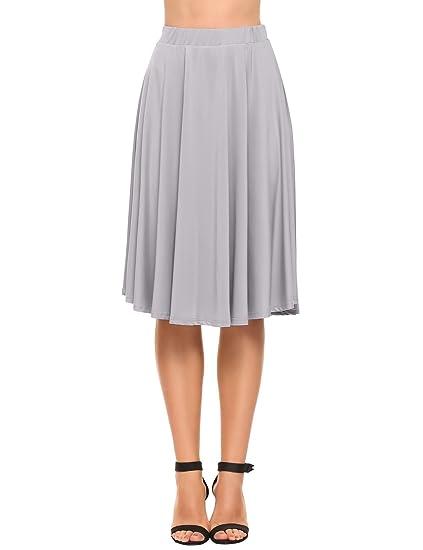 Zeagoo Faldas Plisada Corta Mujer Elástica Básica Sólidas Negro ...