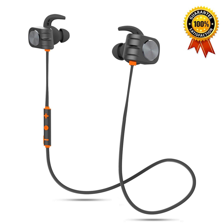 Bluetooth Headphones, Aolpxom Magnetic Wireless Earbuds w/Mic, 160mAh High Capacity Battery, 10 Hours Playtime, HD Stereo, IPX5 Waterproof Wireless Sport Earphones for Men Women (Orange)