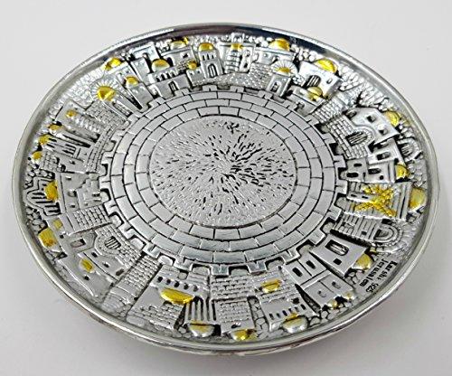 Silver Plated Jerusalem KIDDUSH CUP with Tray Jewish Shabbat Set Judaica Holiday Gift