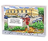 Personalized Friendly Folks Cartoon Snow Globe Frame Gift: Mall Manager - Female Great for big box store, police department, school manager