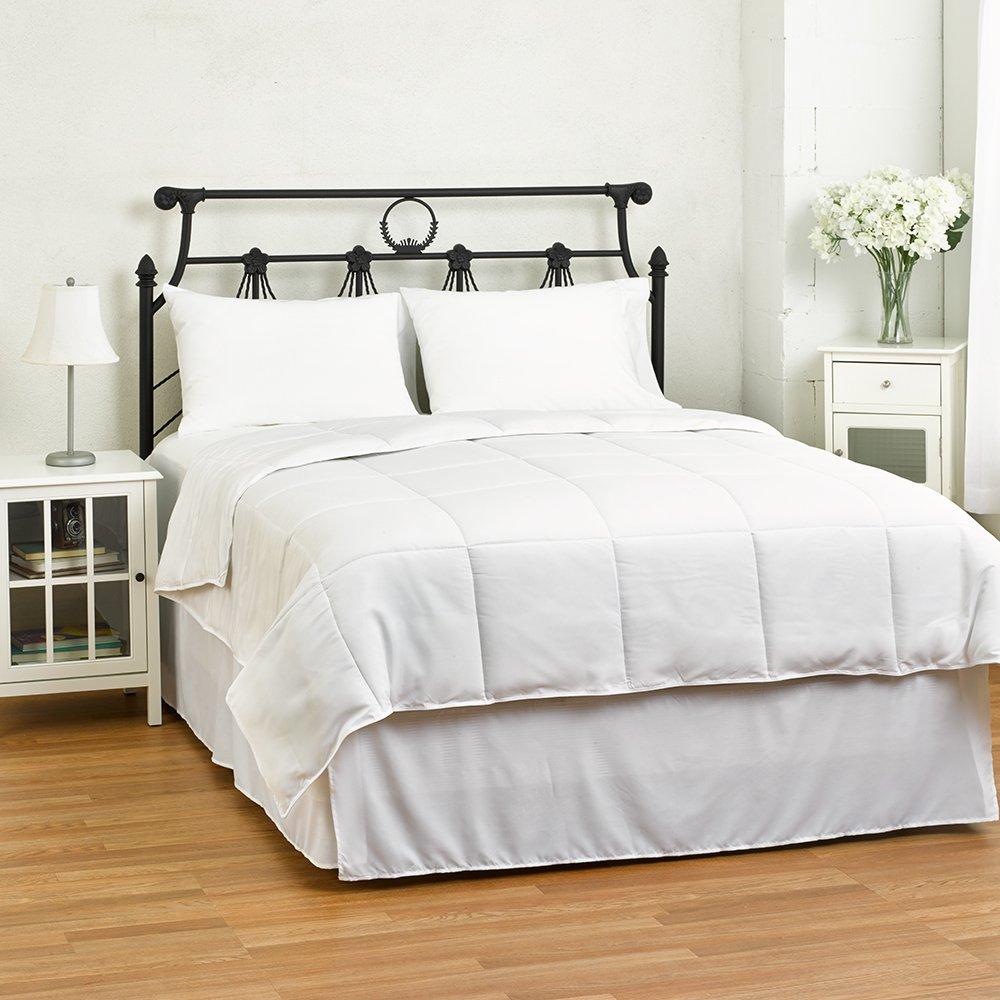 eLuxurySupply White Down Alternative Comforter - Duvet Cover Insert - Light Weight and Hypoallergenic - Solid White, King/Cal King