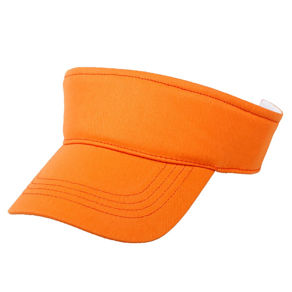 Opromo Kids Cotton Sun Visors Children Adjustable Sports Visor Cap Summer Caps-Orange-48 PCS