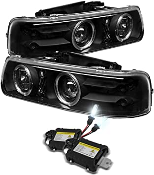 99-06 Silverado Black Halo Projector Headlights+Smoke Bumper+LED Fog Lamp